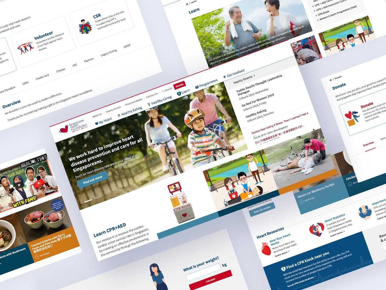 Singapore heart foundation website desktop screens
